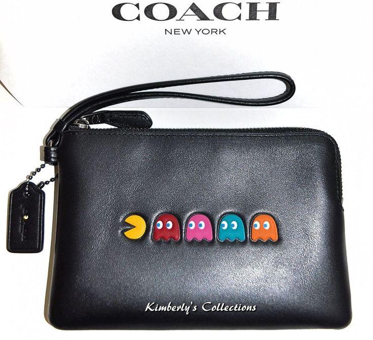 COACH X PAC-MAN & GHOSTS Limited Edition Black Leather Corner Zip Wristlet NWT  #Coach #WristletClutch