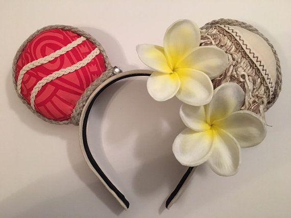 Moana Inspired Mickey Ears White Plumeria by KaysDarlingDesigns