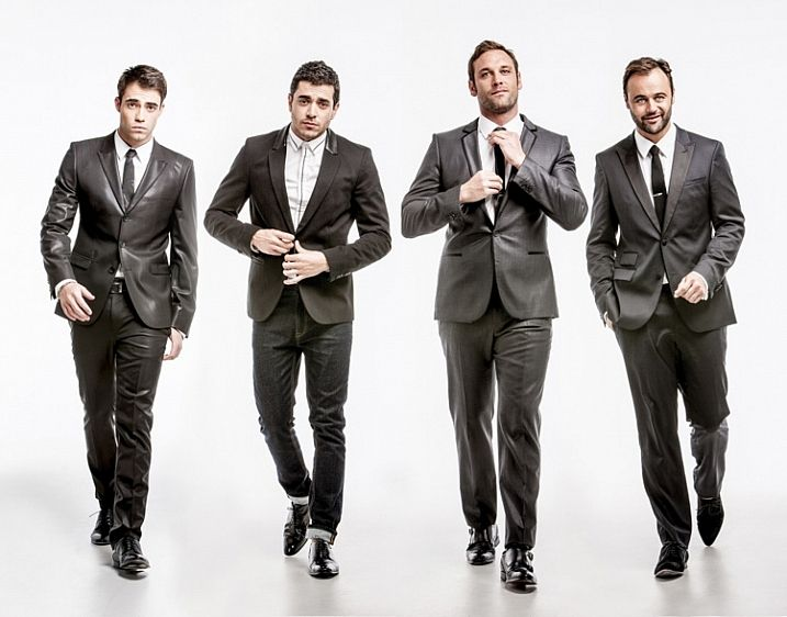 Posing groups tips - this one is called the reservoir dog. Direct each subject to do one thing, like a hand in left pocket or adjust your tie, and get them to walk towards you