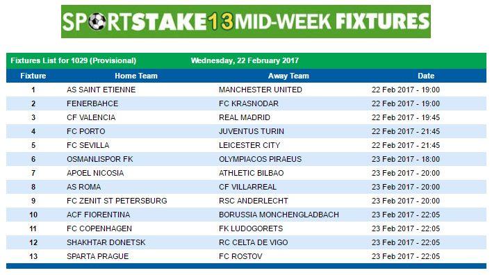 #SportStake13 Midweek Fixtures - 22 February 2017