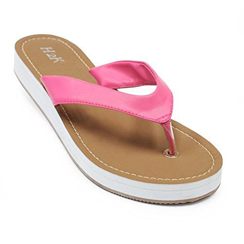 Fashion Flip Flops for Women H2K COMFY Womens Beach Summer Fashion Lightweight FlipFlops Thong Sandal Comfortable Flat SlipOn Slippers Synthetic Material  Pink  Camel Brown Size 11 M US Size * Read more reviews of the product by visiting the link on the image.