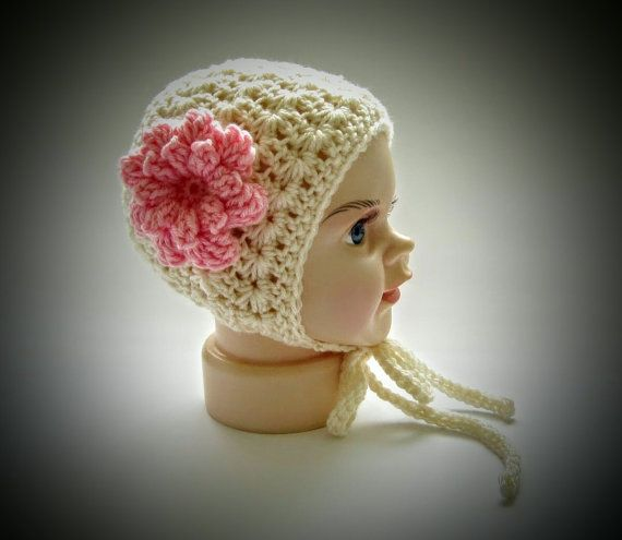 Newborn Bonnet,Baby girl photo props,crochet baby bonnet,newborn photo props,infant photography prop,vintage photo props,baby photo props,