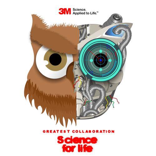 Burung hantu adalah simbol pengetahuan dan di sini saya bermaksud menggabungkan antara ilmu pengetahuan dan teknologi yang di simbolkan di dalam gambar dengan robot dan listrik. jadi kolaborasi antara pengetahuan dan teknologi masa depan. yang menjadi acuan 3M. #burunghantu by rik4al1ndunisiy