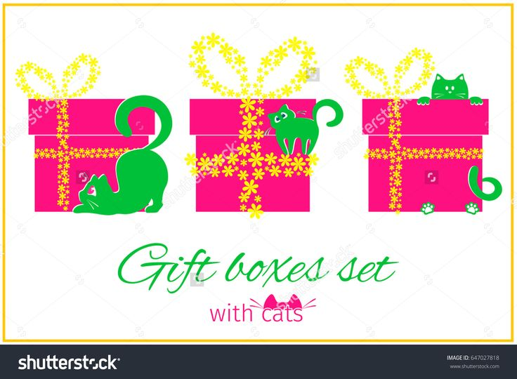 Vector set of gift boxes with a bow knot. Gift boxes with cats and flowers design.