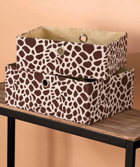 New Set Of 2 Safari Print Fabric Storage Basket Bins Organizer Zebra Or  Giraffe