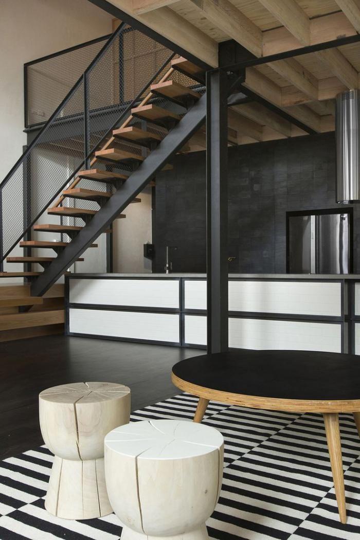 escalier métallique, escalier bois et métal, mezzanine
