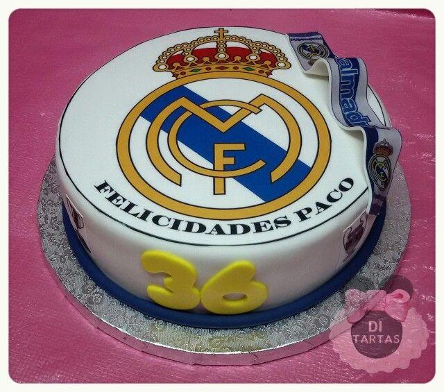 Tarta Real Madrid con impresion comestible.