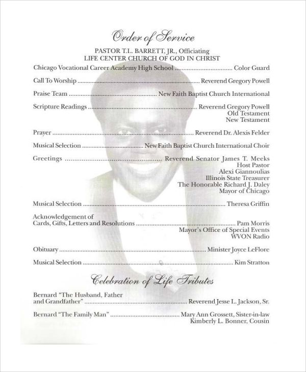 Free Obituary Program Template Download Program Template