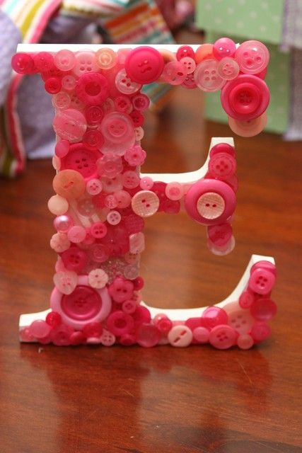 Button covered letter at a  Lalaloopsy Party #lalaloopsy #party