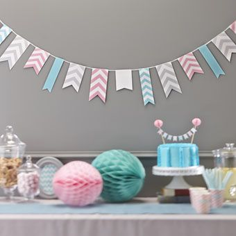 Gorgeous and striking, our chevron paper bunting comes as 3.5m in length and has pink, grey and turquoise / mint green flags