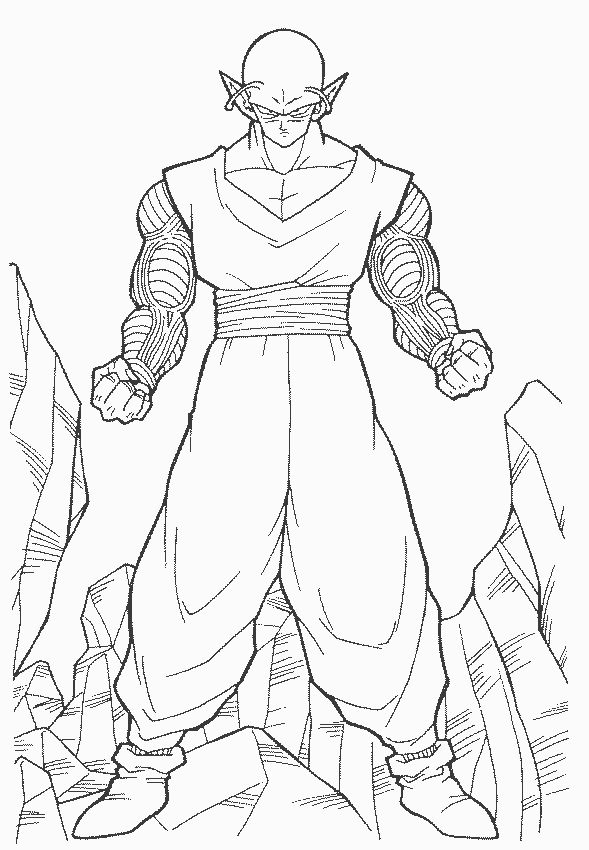 dragon ball z piccolo ready to fight coloring pages for kids printable dragon ball z coloring pages for kids - Dragon Ball Goku Coloring Pages