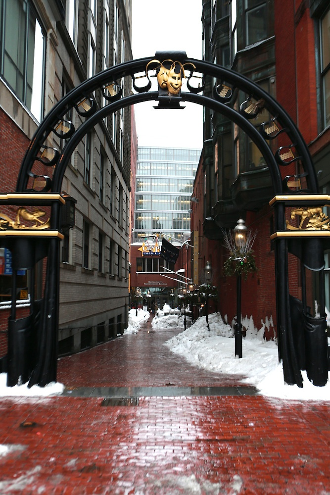 Even in the snow, the gold of the Emerson College archway is always bright!