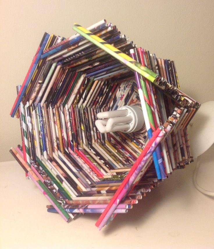 Lampara de techo, hecha con papel de revistas - Magazine paper crafts