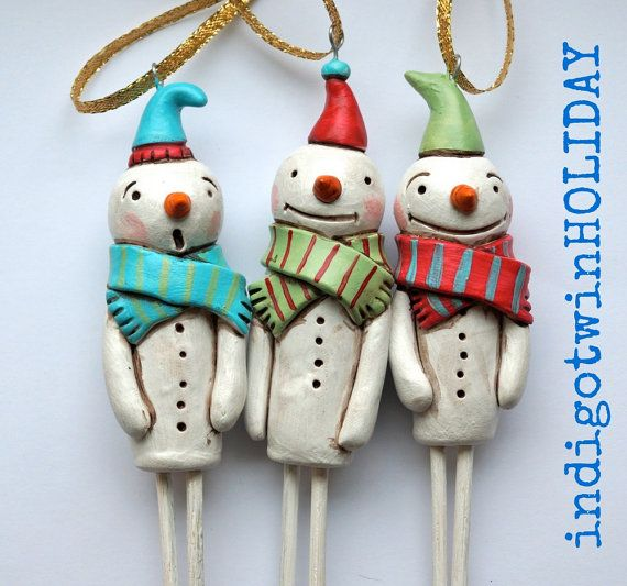 Snowman Christmas Ornament with Green and by indigotwinholiday, $16.00