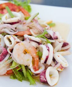 Authentic Thai cooking with downloadable recipe for Thai Seafood Salad (Yam Talay) and video guide showing Thai Seafood Salad being prepared. Order all your Thai Seafood Salad (Yam Talay) ingredients in one place.