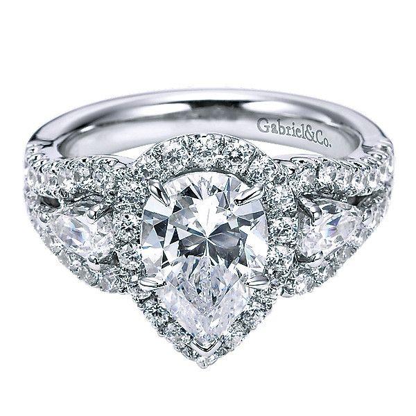 14K White Gold Pear Shaped 3-Stone Halo Diamond Engagement Ring
