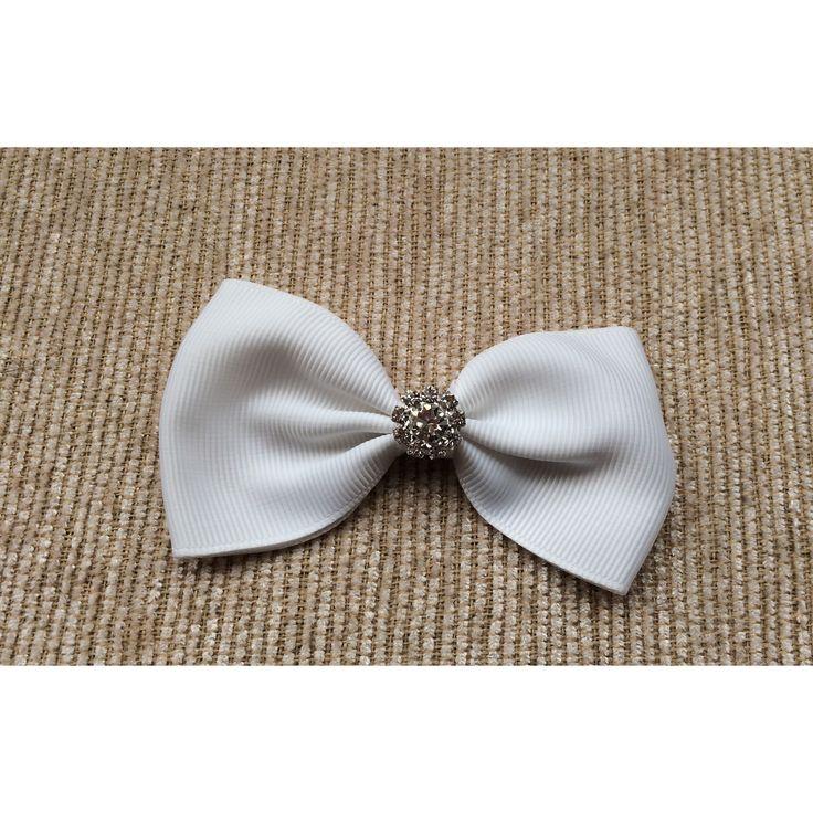 White Bow Hair Clip