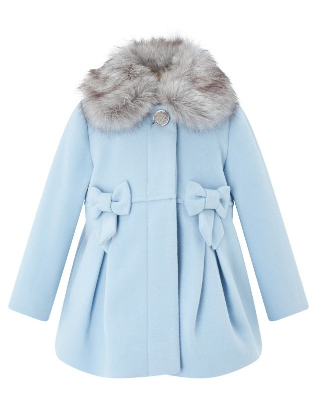 58fcedf070cf Girls Monsoon Belle Blue Fur Collar Girls Winter Jacket Coat 18 - 24 ...