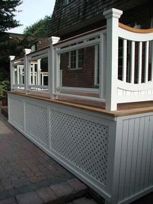 deck railing ideas for front porch deck but more open space at bottom for shoveling snow or sweeping dirt/leaves