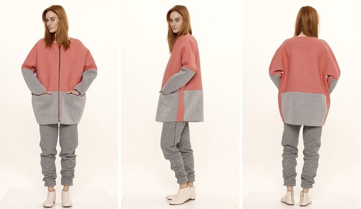 Dori Tomcsanyi mallow-grey neoprene bomber coat with quilted wool trousers.  Available from September at the webshop. http://doritomcsanyi.com/