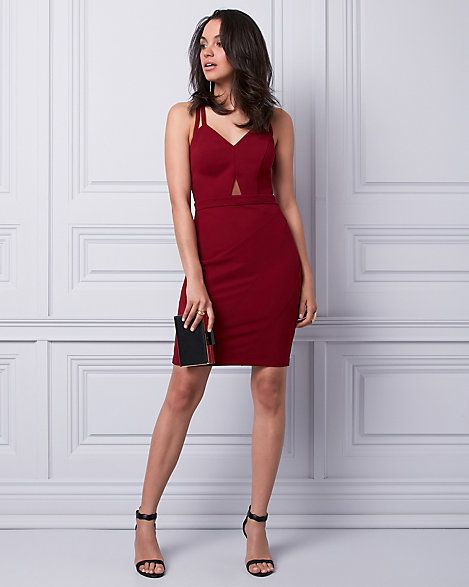 Knit Crêpe V-Neck Dress - A midriff cutout adds an ultra-chic touch to a fitted, knit crêpe dress designed with flirty double straps that criss cross at the back.