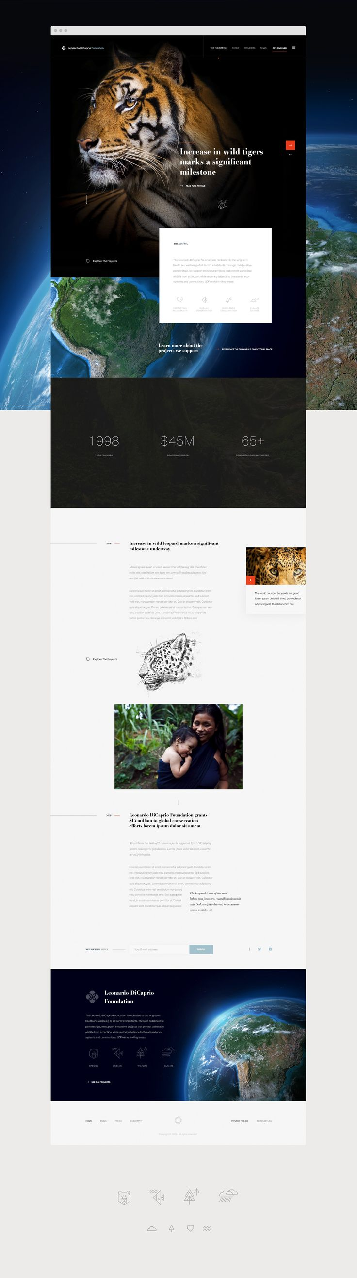 Some site designs for Leonardo DiCaprio Foundation. Not live.