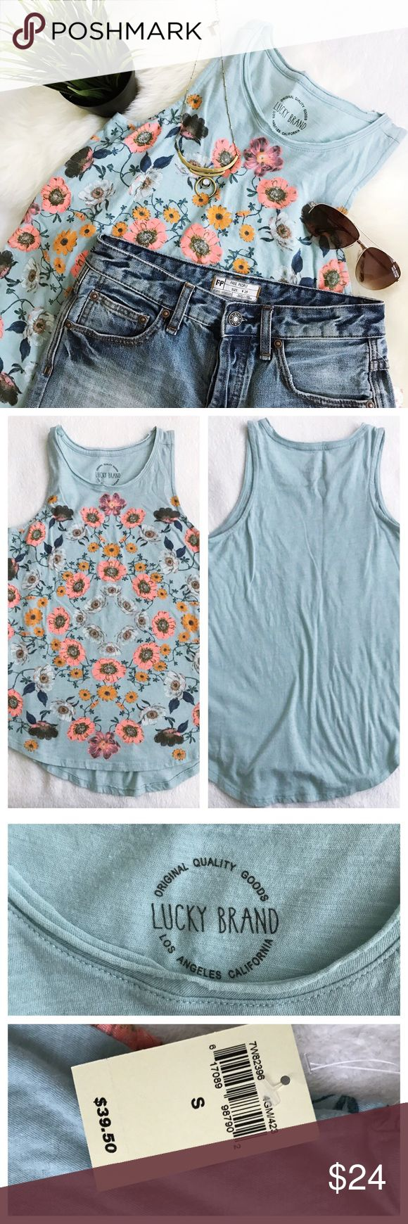 Lucky Brand Flower Surf Tank size small NWT NWT no flaws. 100% super soft cotton Color is called gray mist, however it is a cornflower blue green Last images are stock photos for reference 🚫trades 🚫modeling requests  🚫🅿️🅿️ 👍🏻Reasonable offers welcome! Lucky Brand Tops Tank Tops