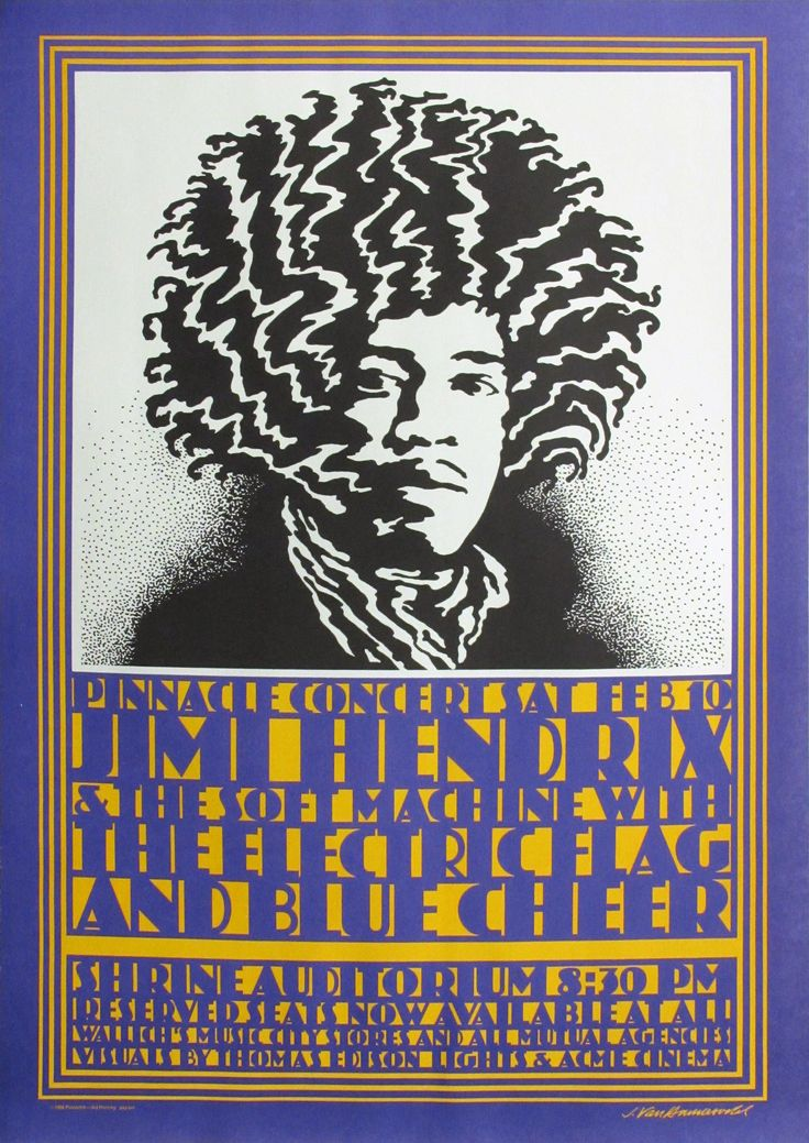 Jimi Hendrix/Soft Machine/ Electric Flag Poster Concert Poster by John Van Hamersveld image