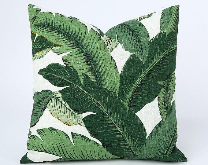 Een Beverly Hills Banana Leaf rits kussen Cover bladeren Outdoor Martinique kussen donker groen 12 x 18-20 x 20 22x22 lumbale kussen cover-6FL5