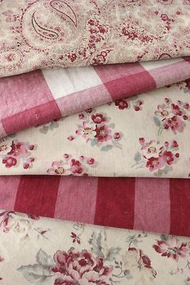 Antique Vintage French printed cottons ~ project Bundle ~ Linen LOVELY pack