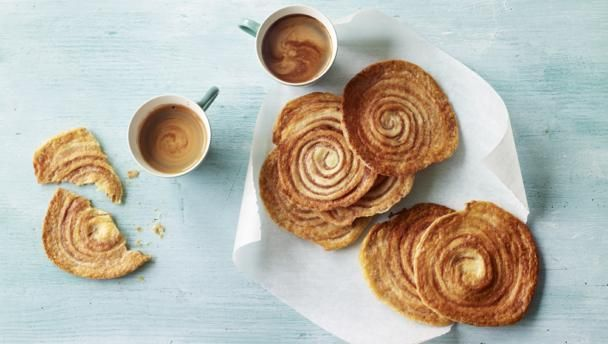These light puff pastry biscuits are flavoured with a touch of cinnamon - wonderful served with a coffee or ice cream.