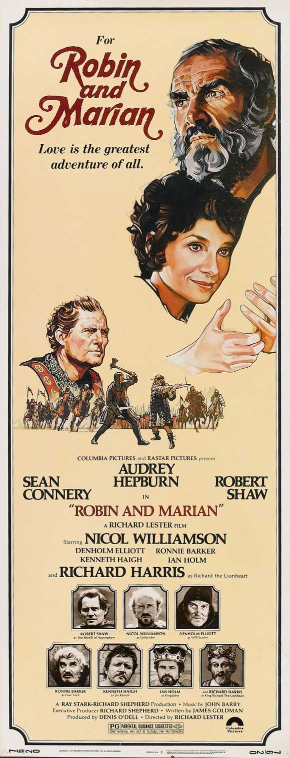 "Director Richard Lester's ""Robin And Marian"" (1976) starring Sean Connery, Audrey Hepburn, Richard Harris (Richard The Lionhearted), Robert Shaw (The Sheriff Of Nottingham) Nicol Williamson (Little John)"