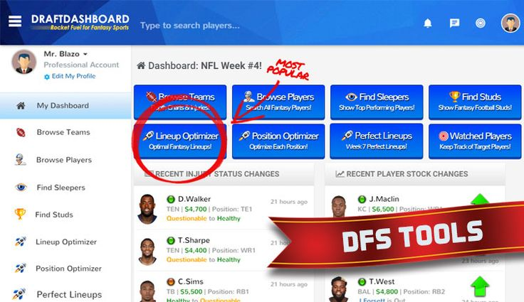 DFS Tools | Daily Fantasy Sports Tools for NBA Basketball and NFL Football