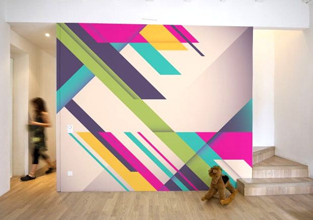 Awesome website - http://mirror80.com/ Retro 80's inspired re-usable wall art/decals. Geometric design, bright colors with neon.