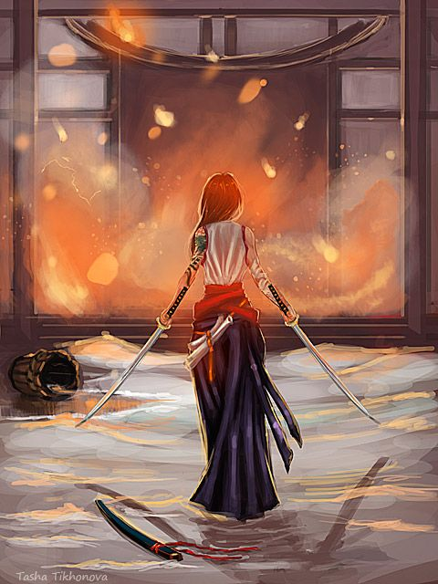 Bitrvarg tribe commonly use two swords. Could be aurora (welcome back home by Shoshina.deviantart.com on @deviantART)