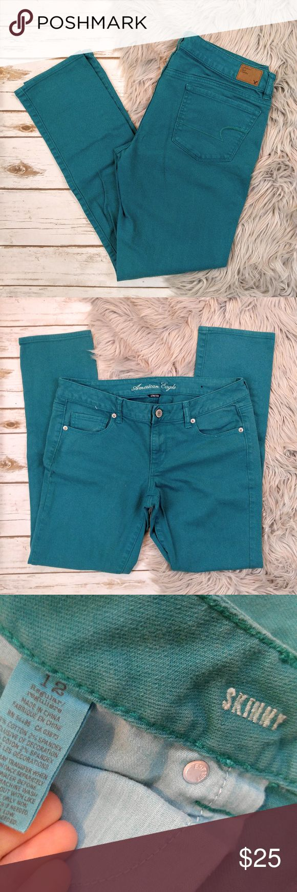 """American Eagle Outfitters Teal Skinny Jeans American Eagle Outfitters Teal Skinny Jeans Size 12 in excellent used condition. Measurements laid flat  Waist: 17.5"""" Hips: 20"""" Rise: 8"""" Inseam: 30.5"""" Style: Skinny Materials: 98% Cotton 2% Spandex (These have some stretch) I ship orders placed before 11 AM Central time on the same day. Please feel free to ask questions. Happy Poshing! American Eagle Outfitters Jeans Skinny"""