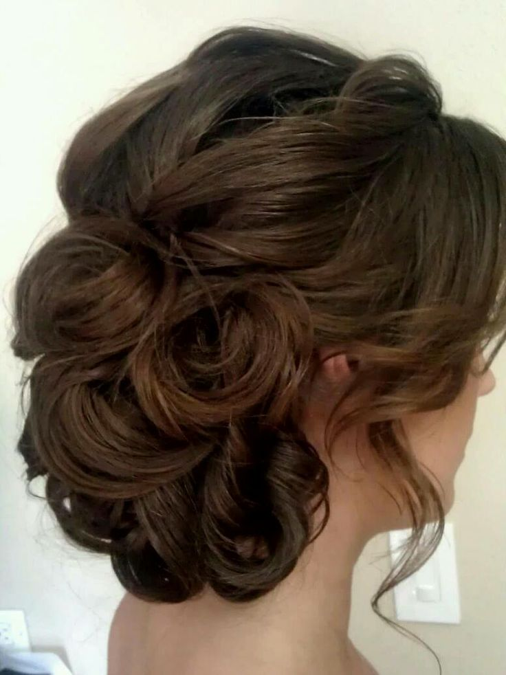 Soft, curly, side swept updo, bridal hair, www ... - photo #28