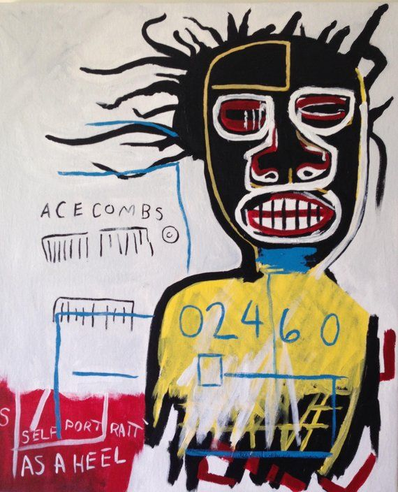 Hand Painted Jean Michel Basquiat Inspired Self Portrait As A | Jean michel basquiat, Basquiat, Art