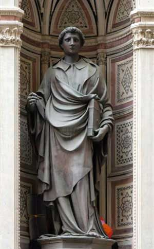 Artists Renaissance: Lorenzo Ghiberti (1378-1455) goldsmith, sculptor, and architect, author, and art critic. He is best known for the Gates of Paradise (1425-52) on the Baptistery of the cathedral of Florence.  This is his St.Stephen on the facade of Orsanmichele in Florence (1428).