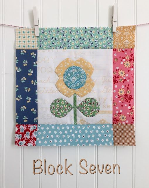 Bloom Sew Along Block 7 - with Tutorial - featuring Lori Holt's Calico Days fabric collection #iloverileyblake