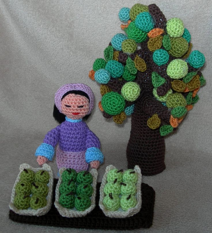 vendedora de fruta y árbol frutal amigurumi