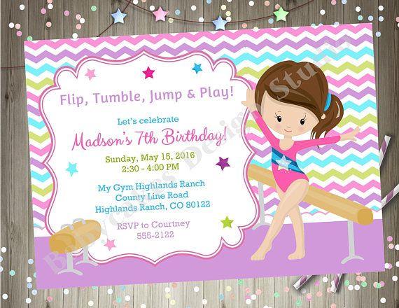 Gymnastics birthday invitation gymnastics invitation gymnastics birthday party gymnastics party invitation invite printable CHOOSE YOUR GIRL