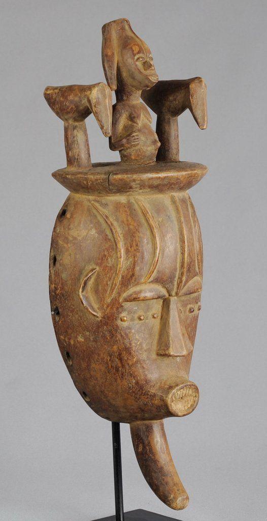 Masque anthropo-zoomorphe aux deux oiseaux - URHOBO Nigeria - Anthropo-zoomorphic Mask with two birds