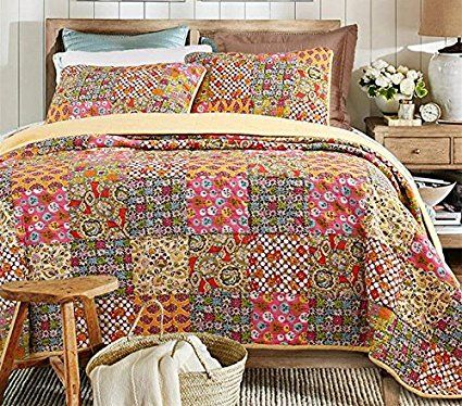 Beddingleer Extreme King Size luxury 100% Cotton Bright Patchwork Quilted Bedspread Set Printed Vintage Collection Handmade Bedding Quilt/Sham Set, 3 Pieces (Style#1)