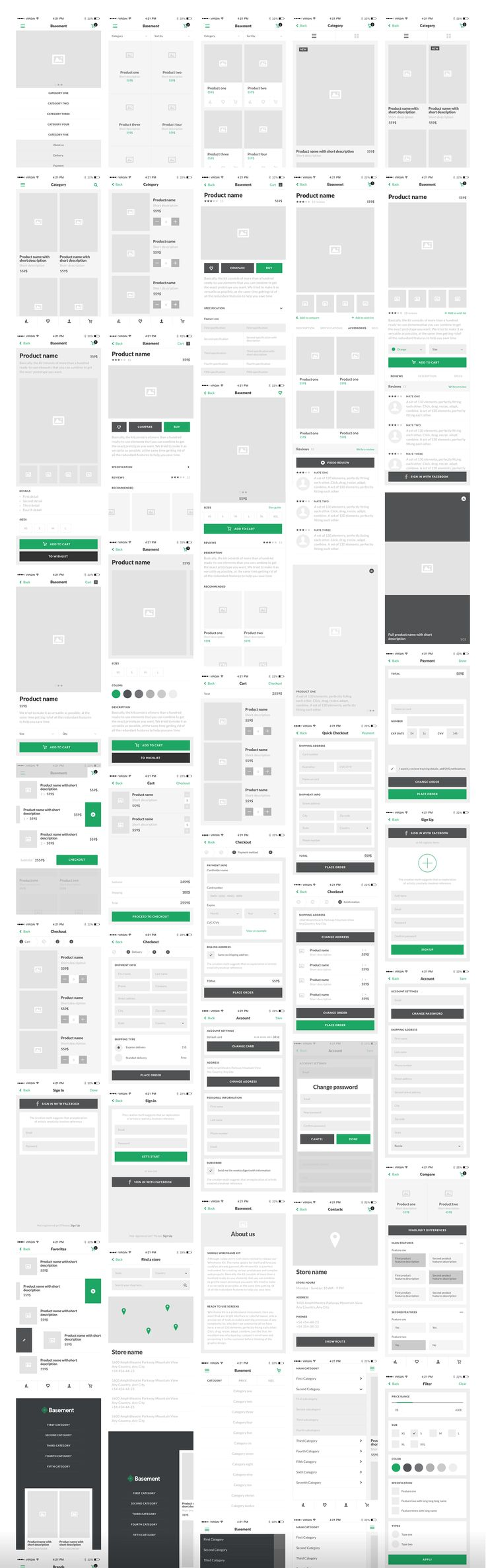 Basement iOS: Wireframe UI Kit