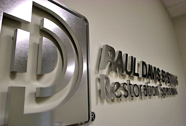 at Art Signs brushed metal substitute acrylic with spacers on the back business office wall 3d corporate logo sign