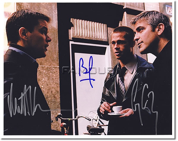 *直筆サイン入写真 『オーシャンズ11』のジョージ・クルーニー/ブラッド・ピット/マット・デイモン(Signature Photo)