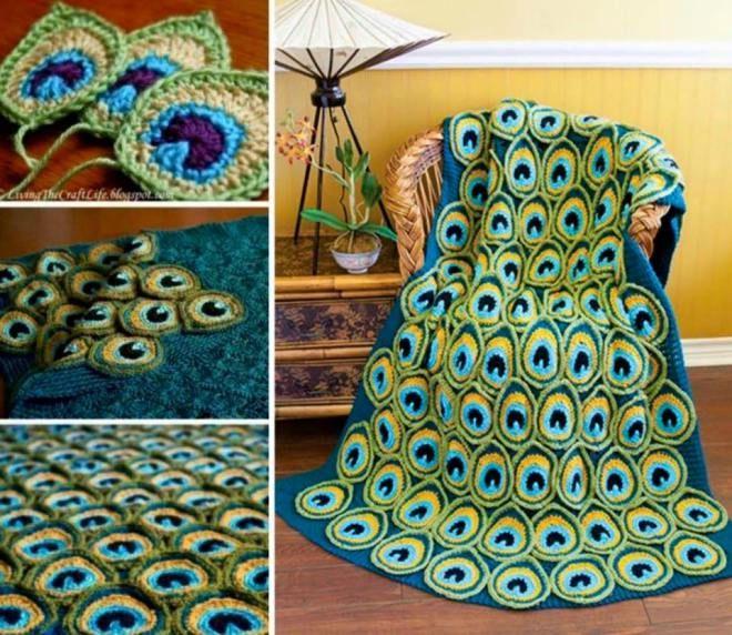 Wunderschöne Pfauen-Decke. Anleitung ist käuflich zu erhalten. Beautiful peacock blanket. Pattern can be bought. Shop the pattern here: http://www.craftsy.com/pattern/crocheting/home-decor/peacock-pretty-blanket/74902