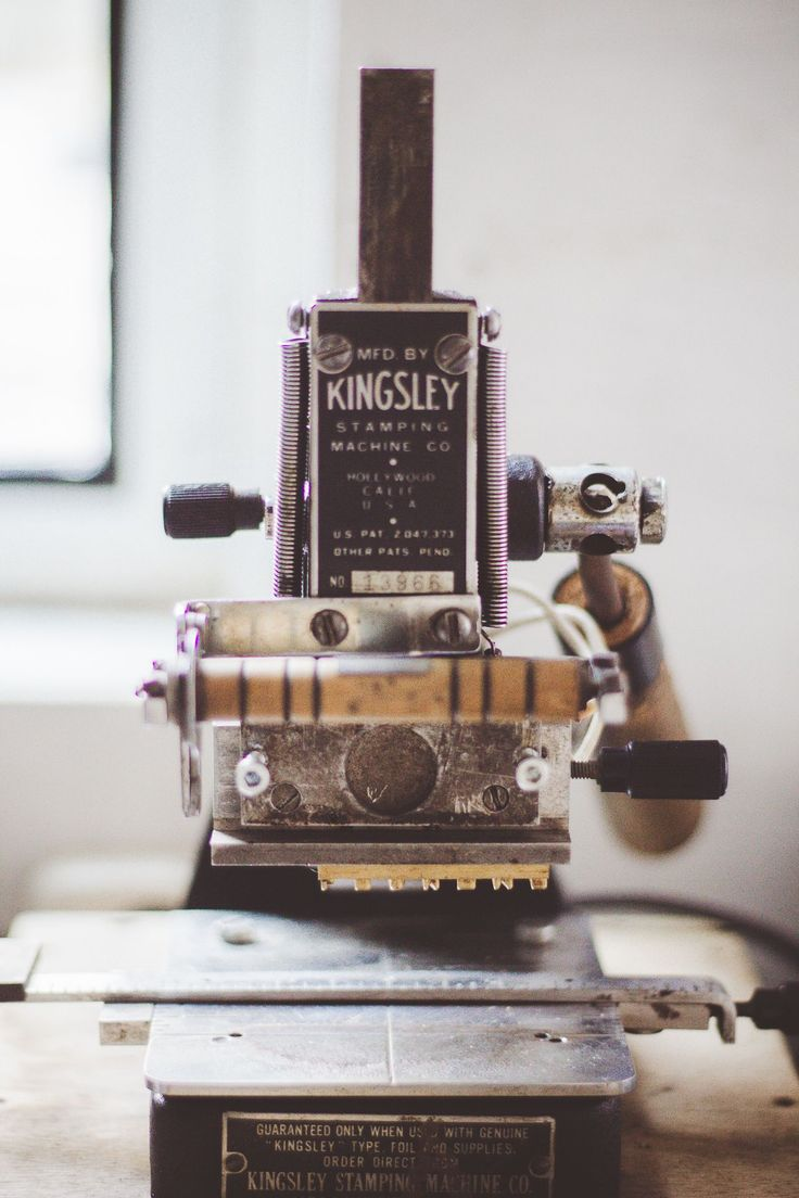Kingsley hot stamping machine. Check out the blog for more information about this lovely piece of history.