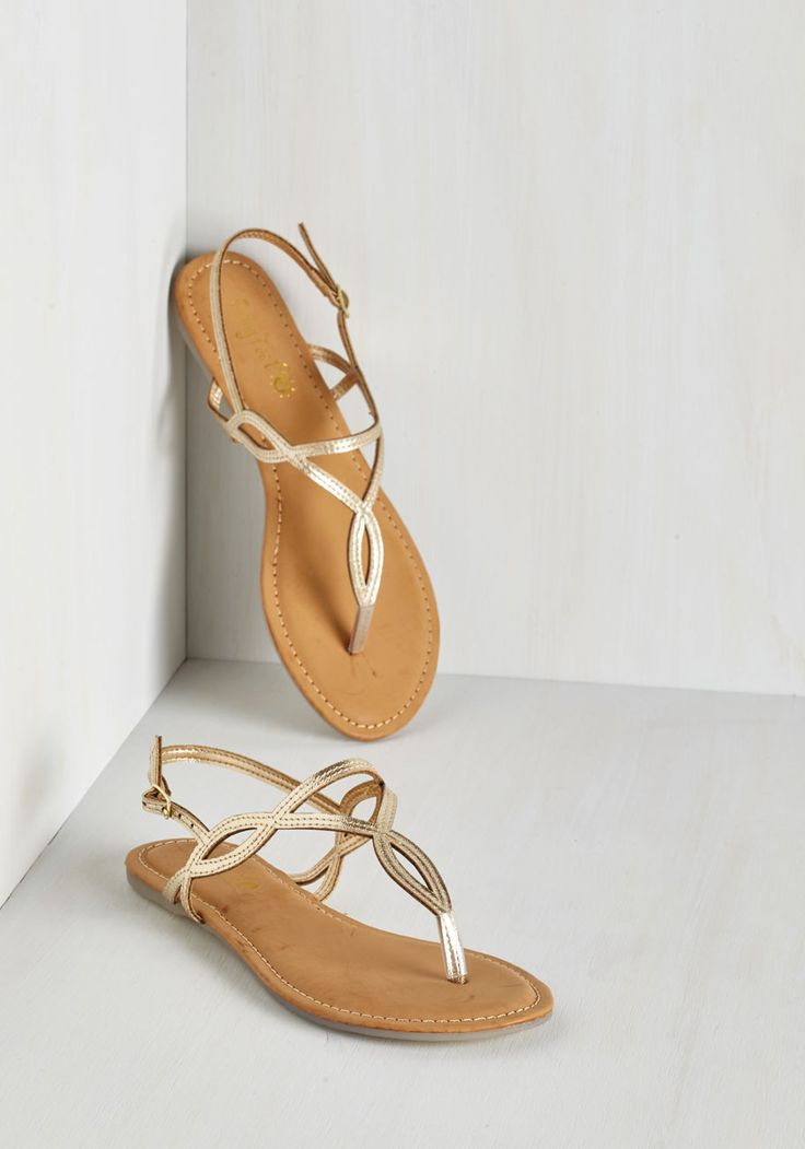 Know Only Too Swell Sandal in Gold - Gold, Solid, Cutout, Casual, Beach/Resort, Summer, Good, Slingback, Variation, Flat, Faux Leather